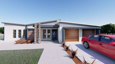 This Morden designed 2 Bedroom House Plan MLB-1816S Boasting Master Suite and one bedroom, bathroom, Open plan living area with entrance hall, Kitchen, Double Garage