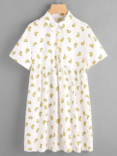 Shop Allover Banana Print Half Placket Babydoll Dress at ROMWE, discover more fashion styles online. Zara Fashion, Fashion Wear, Boho Fashion, Girly Outfits, Cool Outfits, Vestido Baby Doll, Banana Print, Night Suit, Quirky Fashion