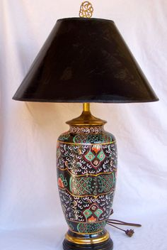 Multi Colored Asian Lamp with Black Shade by SanMonet on Etsy, $395.00
