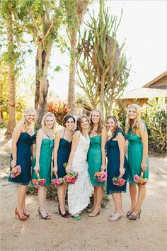 blue and teal bridesmaid dresses