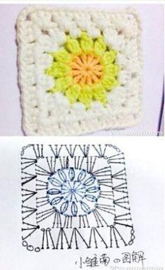 코바늘 모티브 도안입니다. 중복이 있을수도있어요~ 이해해주세요~ 겨울이니 이쁠 블랫킹 담요하니정도 ~~ ... Diy Crochet Granny Square, Granny Square Crochet Pattern, Crochet Diagram, Crochet Squares, Granny Squares, Crochet Quilt Pattern, Crochet Blanket Patterns, Crochet Motif, Crochet Stitches