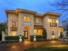 Extraordinary Property of the Day exterior: Exquisite Mediterranean-style Home in Dallas, Texas Mediterranean Architecture, Mediterranean Style Homes, Spanish Style Homes, Spanish House, Le Riad, Mansions Homes, Exterior Design, Exterior Homes, My Dream Home