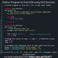 Python Program to Find LCM using GCD function. In this program youll learn how - C Programming - Ideas of C Programming - Python Program to Find LCM using GCD function. In this program youll learn how Computer Programming Languages, Coding Languages, Computer Coding, Learn Programming, Python Programming, Computer Technology, Computer Science, Data Science, Computer Lab