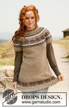 "Autumn Flurries - Knitted DROPS tunic with short sleeves, round yoke and Norwegian pattern in ""Karisma"". - Free pattern by DROPS Design"