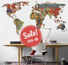 World map decal. Vintage flags map wall decal. Wall sticker. Removable