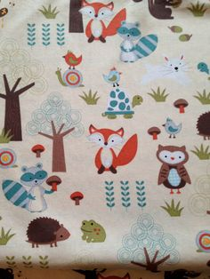 Woodland Forest Animal Baby Blanket by dwelldarling on Etsy, $32.00