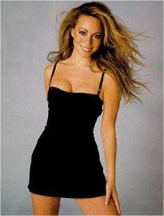 Mariah loves her some black mini slip dress.
