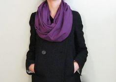 Pashmina infinity scarf, purple loop scarf, autumn scarf, wrap, shawl