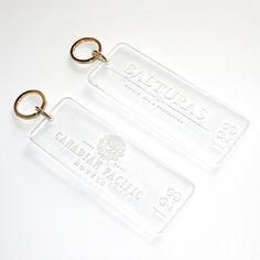 Beautiful sleek acrylic key fobs by Smart Hospitality Supplies.