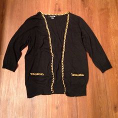 Gold chain link trim cardigan Worn once, size small, brand forever 21. Fake pockets on the front. Quarter length sleeves. Material: 25% polyester, 21% acrylic, 18% nylon, 6% wool. Forever 21 Sweaters Cardigans