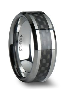 MAXIMUS Black Carbon Fiber Inlay Tungsten Carbide Wedding Band - 4mm - 12mm by Larson Jewelers // More from Larson Jewelers: http://www.theknot.com/gallery/wedding-rings/Larson Jewelers