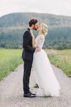 The bride's dress and hair are SO dreamy!