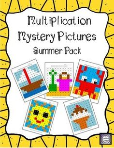 This is a fun way for kids to practice their multiplication facts! Solve the problems, then use the key to color in the boxes and create the 5 mystery pictures! These worksheets are a great way to keep the kids engaged during the last weeks of school before summer!   Pictures are: pail and shovel, crab, sailboat, ice cream, sun $