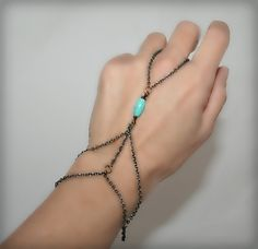 Slave bracelet , bracelet ring, ring bracelet, slave ring, adjustable, with big oval turquoise  (m13b). $15.00, via Etsy.