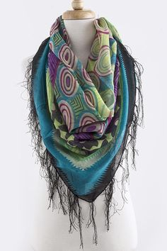 MULTI CONCENTRIC PATTERN OVERSIZED SCARF