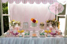 Lovely sweets table at a Garden party!   See more party ideas at CatchMyParty.com!  #partyideas #garden