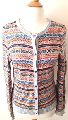 Tommy Hilfiger Womens Sz M Gray Striped Cardigan Sweater Nordic ...