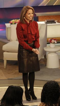 Katie Couric- leather skirt, black tights and heels Tights And Heels, Black Tights, Bow Blouse, Blouse And Skirt, Katie Couric, Leather Shorts, Today Show, Elegant Woman, Leather Fashion