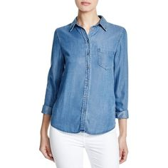 DL1961 Mercer & Spring Chambray Shirt ($190) ❤ liked on Polyvore featuring tops, dark wash indigio, shirt top, chambray shirt, blue shirt, blue top and dl1961 premium denim