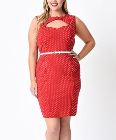 Red & White Polka Dot Cutout Belted Sheath Dress