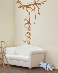 Naklejka Małpki :: FabrykaWycinanek.pl - inspiracje w twoich wnętrzach, naklejki na ścianę, naklejka do dekoracji ścian, nalepki ścienne, szablony malarskie, do malowania