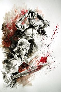 300 Spartan Cartoon Art Greek Warrior Abstract by SamuraiArt