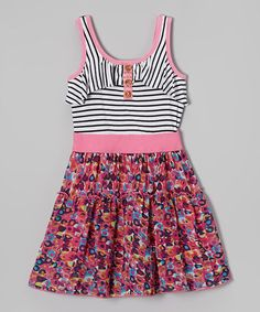 Pink & Black Stripe Floral Dress