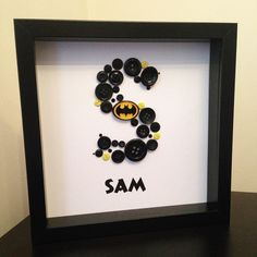 Batman Button letter in 9 inch x 9 inch white box frame. Shadow Box. Personalised Wall Art. Handmade by http://instagram.com/buttonpeople