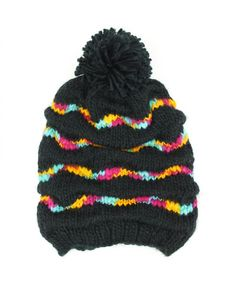 0f5daa34400 Hawkins Chunky knit gathered baggy beanie bobble hat with rainbow stripes -  Black Bobble Hats