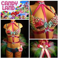 Candyland Surprise Rave Bra & Bottoms with Bow Tie, Costume For EDC,... (175 AUD) ❤ liked on Polyvore featuring costumes, rave, wrestling outfits, cupcake costume, daisy costume, sexy halloween costumes, flower halloween costume and daisy flower costume