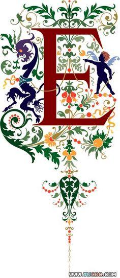国外古典花纹系列:三种古典英文字体设计二 - 文艺复兴风格字体向量图62