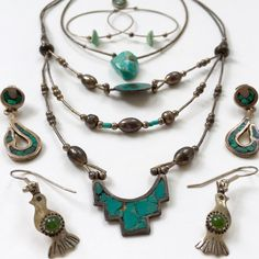 6 pc Collection Vintage Silver Artisan Jewelry One pendant. Three pairs of earrings and two necklaces. Pendant silver with inlay of abalone. Earrings: variety of Mexico silver, Sterling, with turquoise, Jade, malachite? Smaller necklace, 15.5in, simple silver design with polished rough stone with interesting inclusions. Larger necklace, 18in, strand hangs 4in longer. Three strand bib,  inlay work, small chip missing. Old, unique, interesting pieces. None have been cleaned, to show natural…