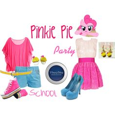 """""""Pinkie Pie (My Little Pony: Friendship is Magic)"""" by colorsgalore on Polyvore Casual cosplay Outfit Dress shirt, skirt, pants idea/concept"""