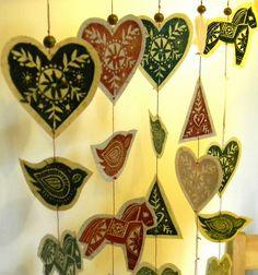 Christmas garlands  lino print and wax