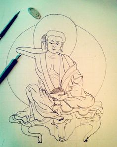 Mais um estudo do Milarepa. Desenho A2, também treinando o Nanquim com pena. O papel não aguentou em alguns lugares… One more Milarepa study. A2 drawing, also training ink with dip pen. The paper couldn't hold the ink in some parts. #milarepa #drawing #buddhism #art #ink #dippen #training #exercise #draw #desenho #arte #treino #exercicio #budismo