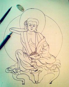 Mais um estudo do Milarepa. Desenho A2, também treinando o Nanquim com pena. O papel não aguentou em alguns lugares… One more Milarepa study. A2 drawing, also training ink with dip pen. The paper couldn't hold the ink in some parts. #milarepa #drawing #buddhism #art #ink #dippen #training #exercise #draw #desenho #arte #treino #exercicio #budismo