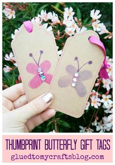 Thumbprint Butterfly Gift Tags - turn thumbprints into simple butterflies! Perfect for Mother's Day presents!  Find more kid craft ideas on Glued To My Crafts!