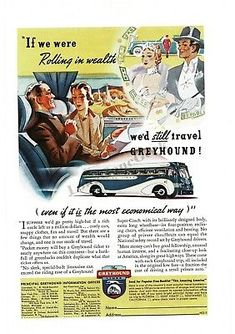 1938 GREYHOUND BUS LINES Wealthy would travel by bus art VTG PRINT AD