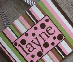 Pink & brown girl nursery personalized canvas decor.