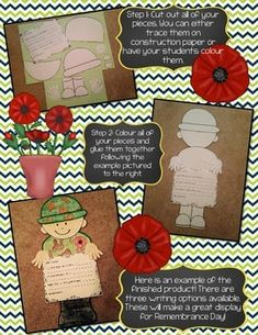 Remembrance Day Activities, Grade 2, Veterans Day, English, Templates, French, Crafts, Ideas, Remembrance Day