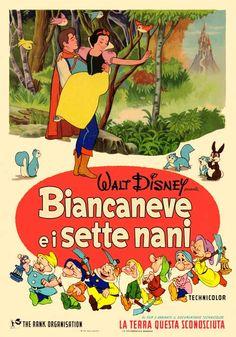 Biancaneve e i sette nani, terza edizione italiana, distr. RANK 1962, 4 fogli (140x200 cm.).
