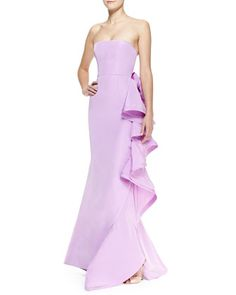 Strapless+Ruffle-Back+Bow+Gown+by+Oscar+de+la+Renta+at+Bergdorf+Goodman.