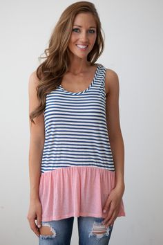 Magnolia Boutique Indianapolis - Ruffle Hem Striped Tunic - Red/White/Blue, $23.00 (http://www.indiefashionboutique.com/ruffle-hem-striped-tunic-red-white-blue/)