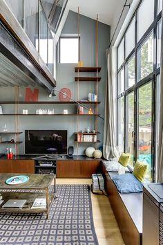 ideas kitchen corner banquette living rooms for 2019 Banquettes, Kitchen Tile Diy, Kitchen Ideas, Corner Banquette, Kitchen Corner, Loft, Beautiful Living Rooms, Color Tile, Living Spaces