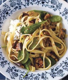 Get the recipe for Fettuccine With Spinach, Ricotta, and Grilled Eggplant.