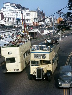 Southend Open-Toppers near the Pier. London Transport, Public Transport, Essex England, Leigh On Sea, Routemaster, British Seaside, Double Decker Bus, Bus Coach, Old Street