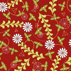 Geo Daisy Floral red custom fabric by colour_angel_by_kv for sale on Spoonflower Red Fabric, Geometric Shapes, Surface Design, Custom Fabric, Creative Business, Spoonflower, Pattern Design, Craft Projects