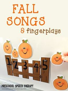 </br>A round-up of fall songs and fingerplays for preschool speech therapy by Speech Sprouts. Speech and language targets for each and additional fall speech therapy activities and resources to…</br> Preschool Speech Therapy, Fall Preschool Activities, Preschool Music, Speech Activities, Art Therapy Activities, Preschool Lessons, Halloween Songs Preschool, Preschool Fall Theme, Thanksgiving Songs For Preschoolers