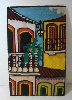 antigo quadro bordado em ponto cruz 58,5 x 37 cm