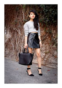 Early spring outfit idea Show a sliver of skin.